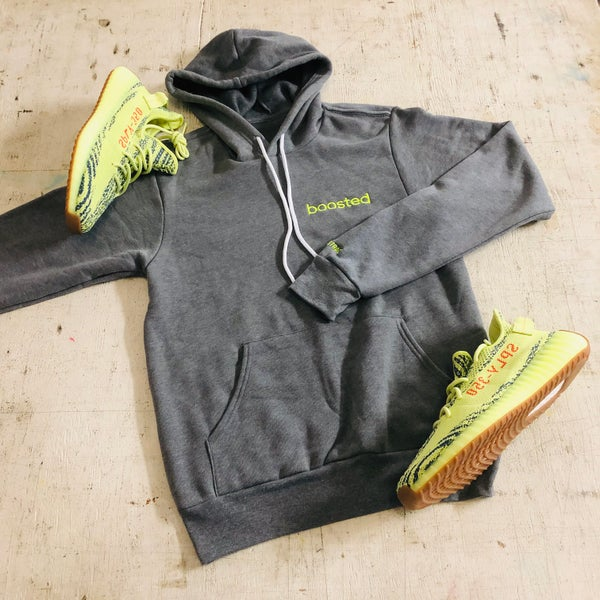 "Image of BOOSTED EMBROIDERY ""NEON YELLOW"" HOODY"