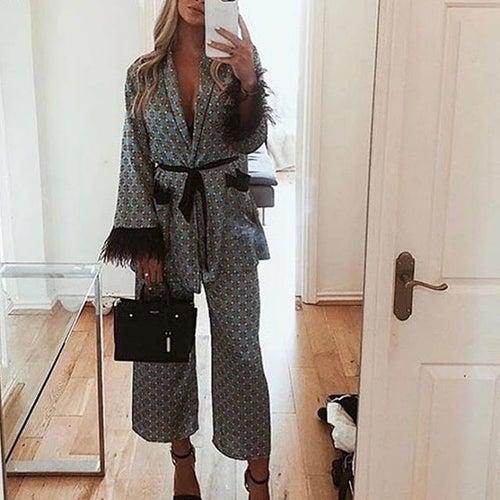 Image of Gracie Two Piece Kimono Jacket and Flare Trouser