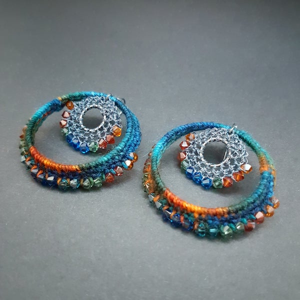 Image of TEXTILE & CRYSTAL HOOPS - Tropical Ocean