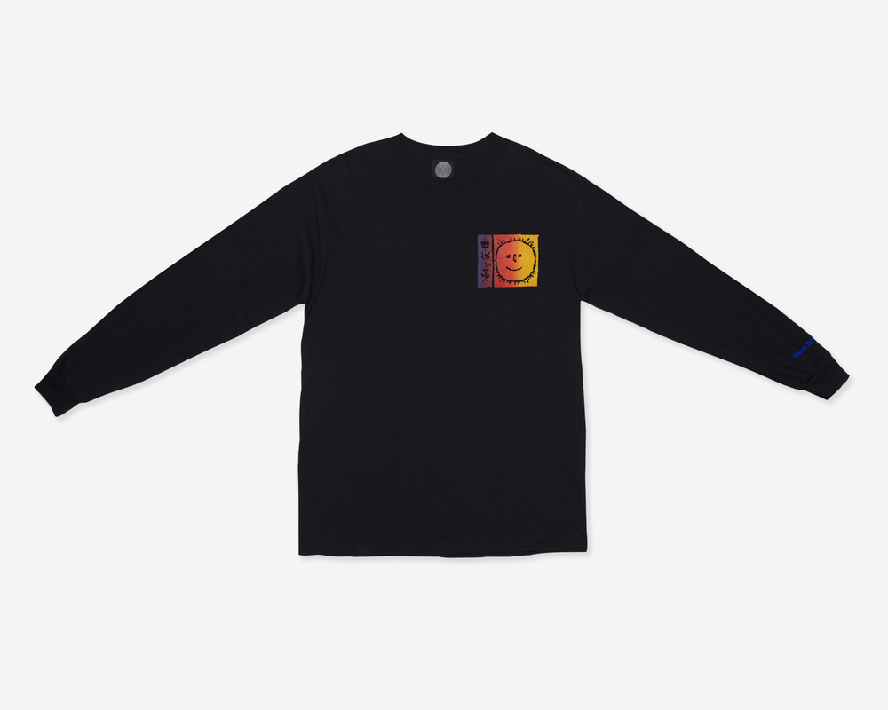 Image of L/S Flowers Tee - B Thom Stevenson - Black / Sunset