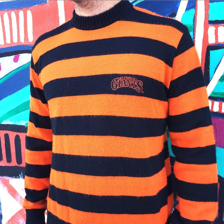 Image of Vintage 1980's San Francisco Giants Logo 7 Striped Sweater Sz.M