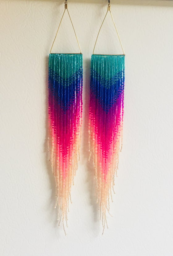 Image of Insane rainbow fringe earrings