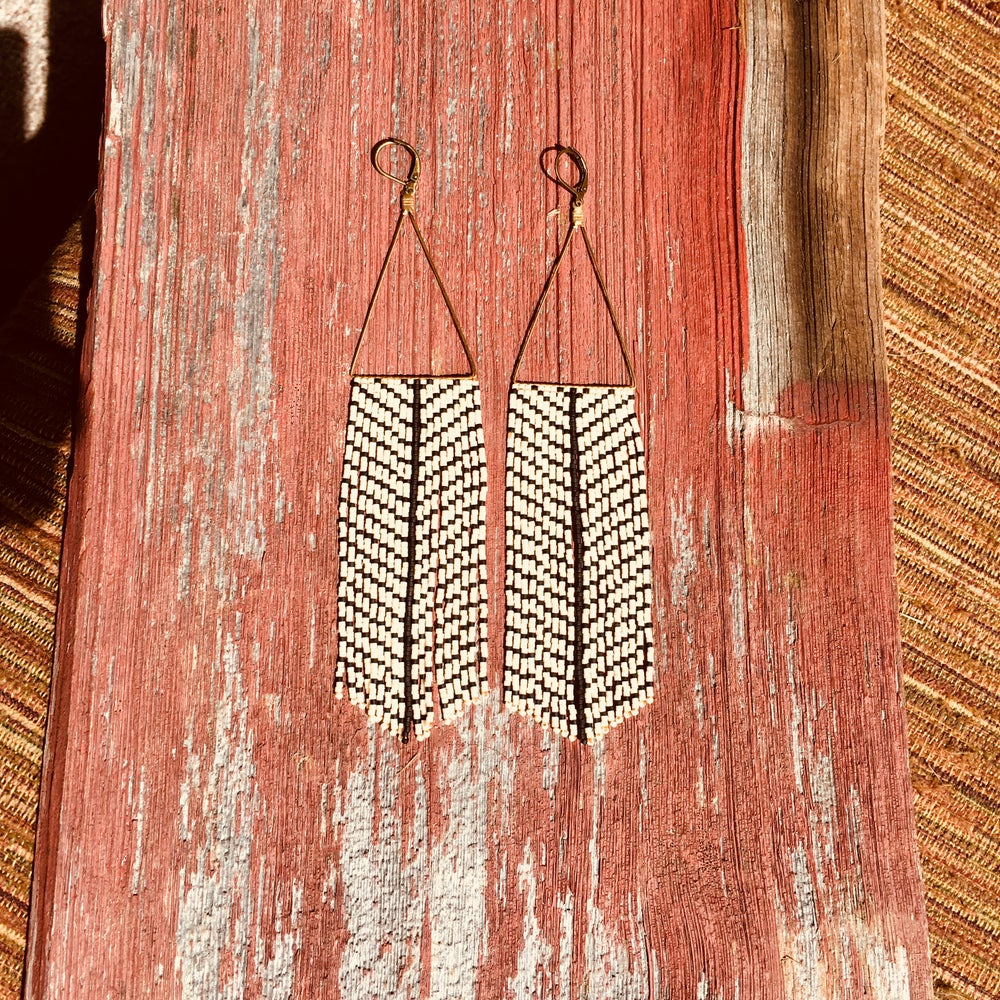 Image of Matte black & bone fringe earrings