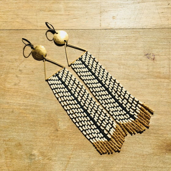 Image of Dome top matte black & bone stripe fringe earrings