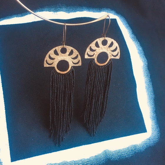 Image of Matte black moon phase fringe earrings