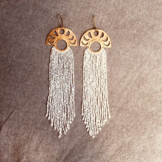 Image of Mixed white moon phase earrings
