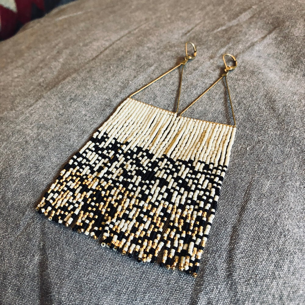 Image of NEWPORT 1922 - Matte black, bone, and 24k gold chaos earrings