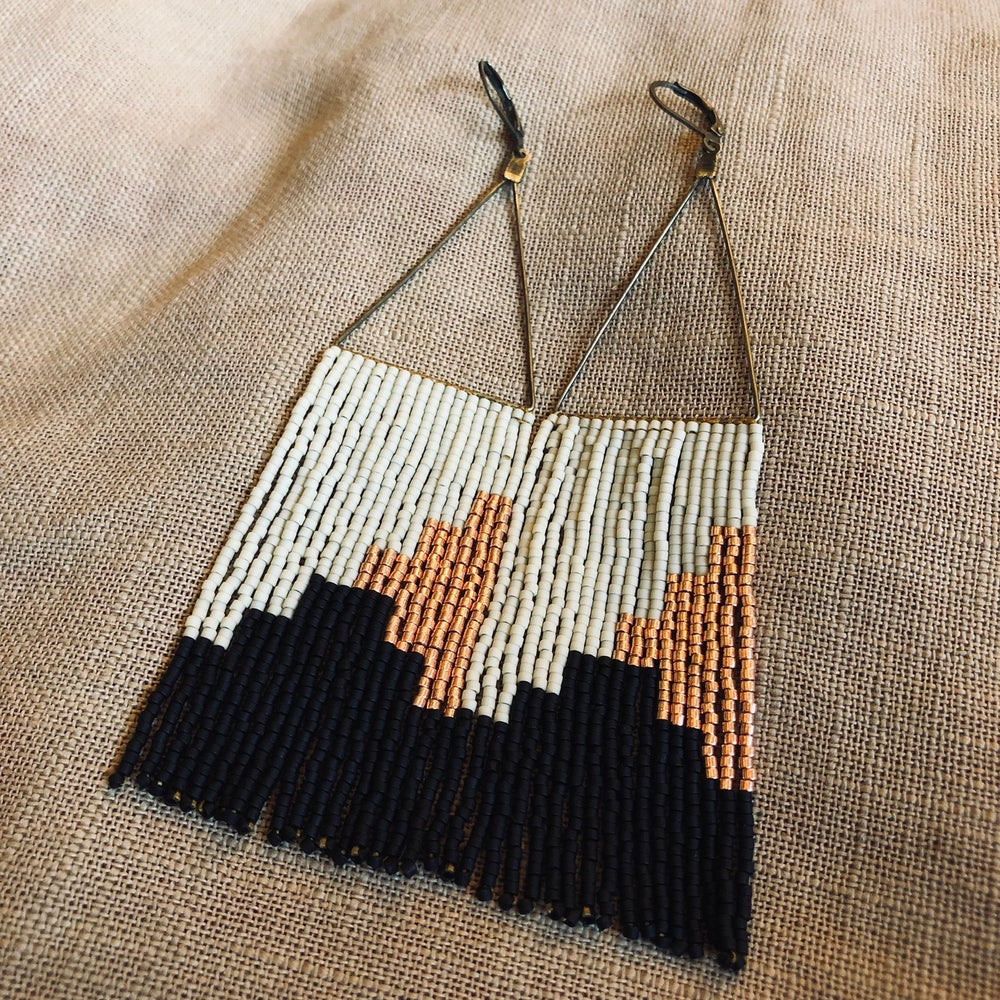 Image of Bone, matte black, and copper fringe earrings