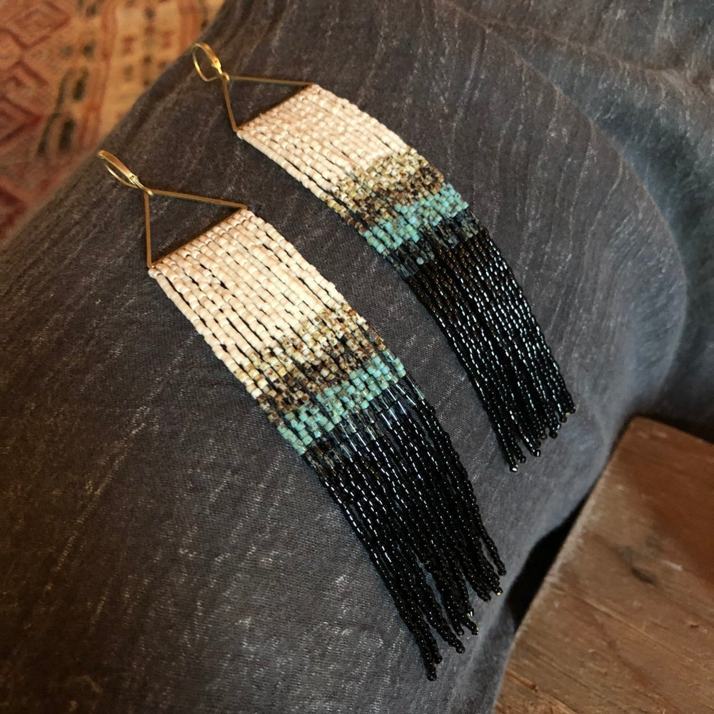Image of Picasso stripes fringe earrings