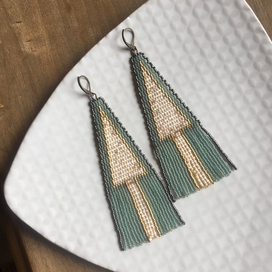 Image of Minty aqua triangle fringe earrings