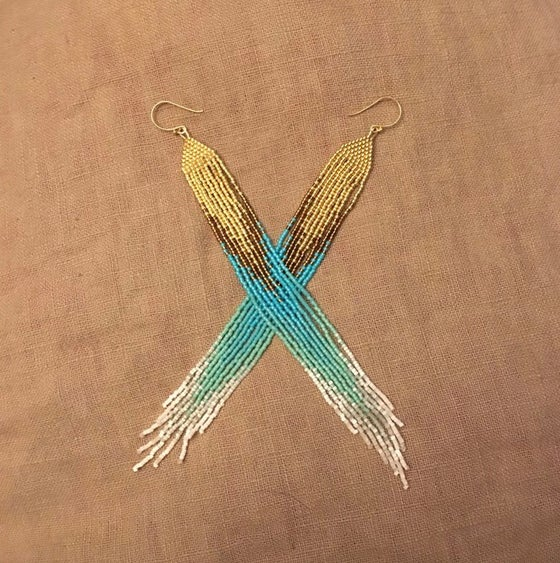 Image of Gold, turquoise, and white silk fringe earrings
