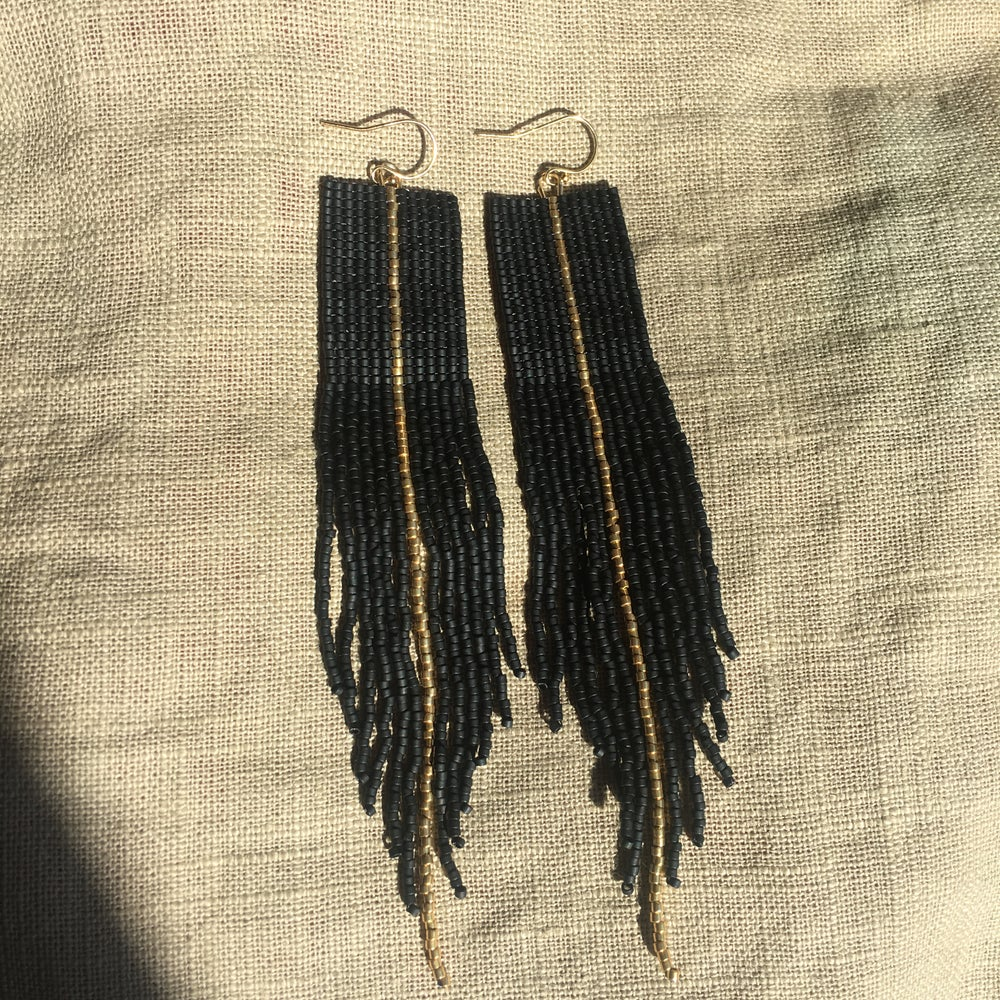 Image of ECLIPSE - Matte black and gold square stitch & fringe earrings