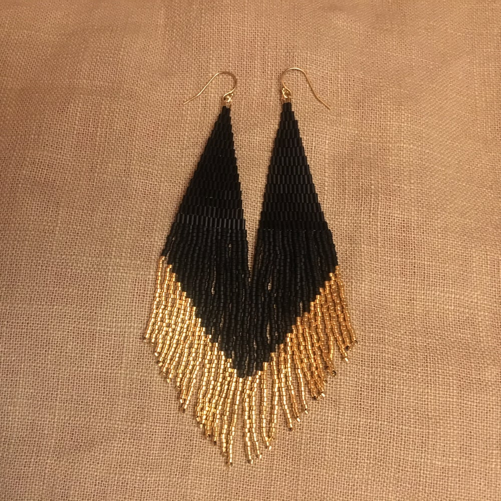 Image of ECLIPSE - Matte black & gold fringe earrings