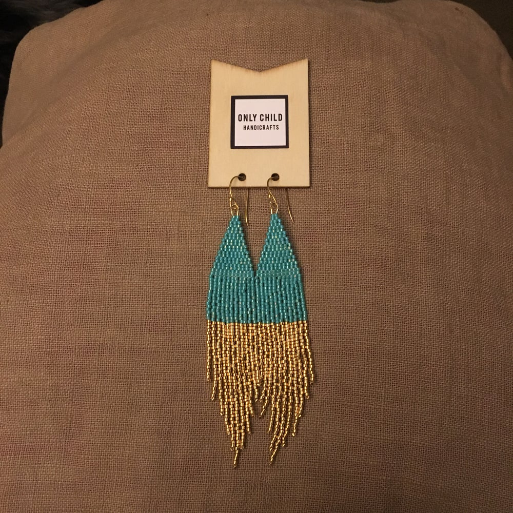 Image of Turquoise & gold dipped fringe earrings