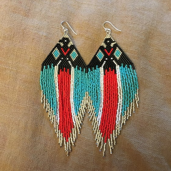 Image of Raven fringe earrings