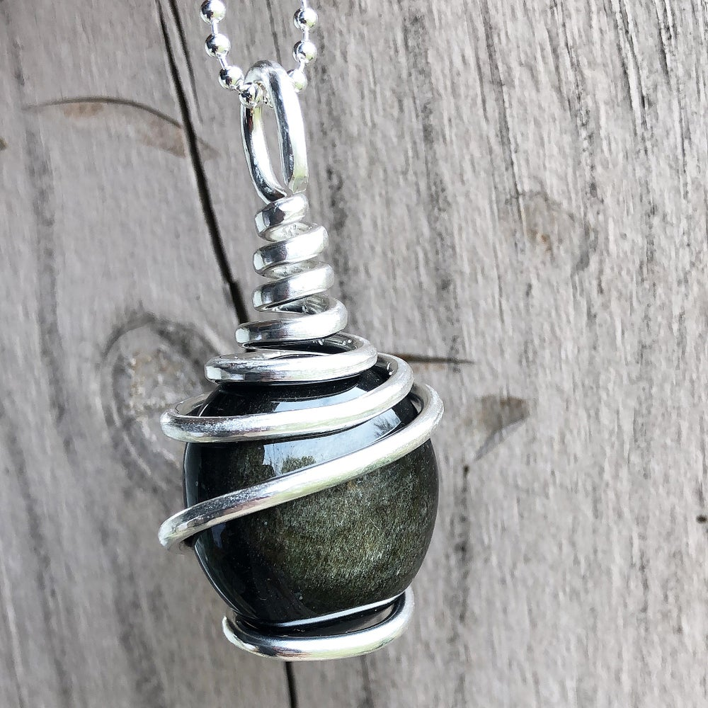 Image of Silver Wrapped Golden Sheen Obsidian Necklace