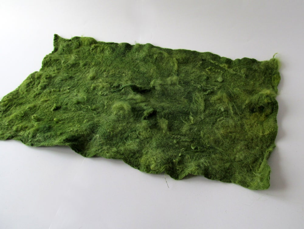 Image of Felt Mat Layer Napkin Felted layer Green Photography prop Real Wool GAL RTS