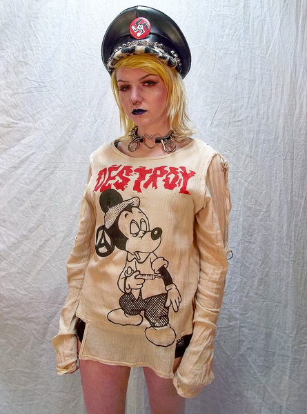 Image of Destroy Mickie Mouse Junkie off white bondage shirt
