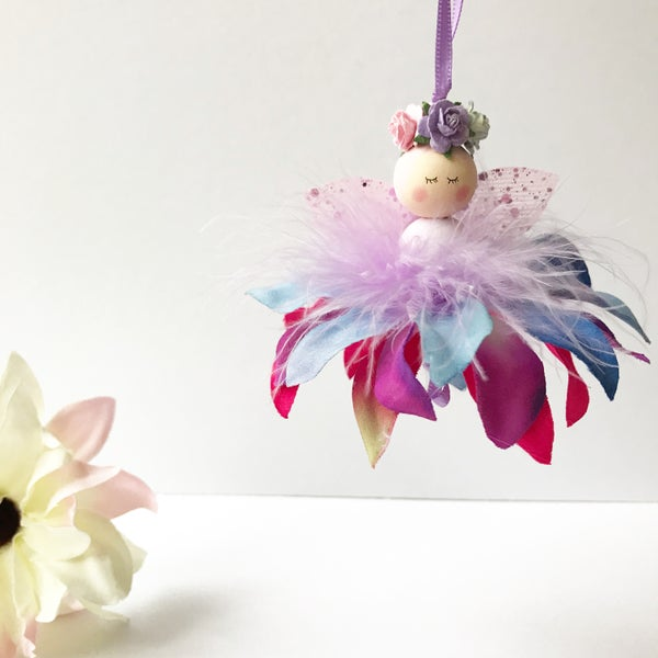Image of Rainbow Enchanted Flower Fairy, Handmade Fairy, Flower Fairy, Fairy Decor