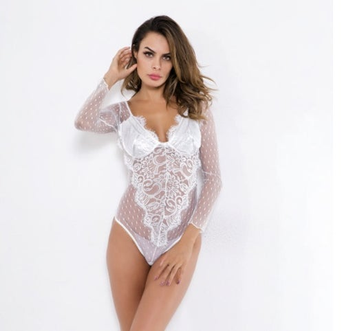 Image of Estelle Long Sleeve Lace Bodysuit