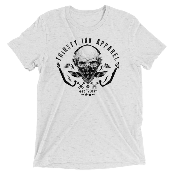 Image of Skull Triblend White T-Shirt