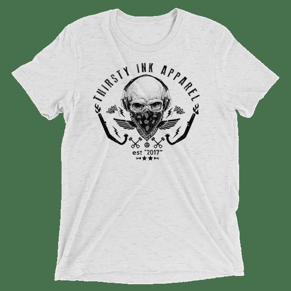 Image of Skull Triblend White T-Shirt
