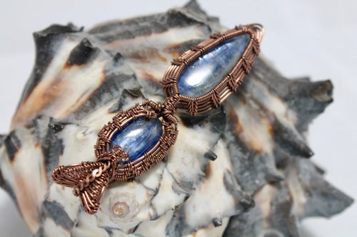 "Image of ""Lawrie"" Double Blue Kyanite Amulet Pendant"
