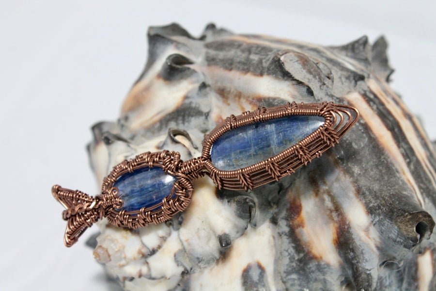 "Image of ""Lawrie"" Double Wire Wrapped Blue Kyanite Amulet Pendant In Copper Wire"