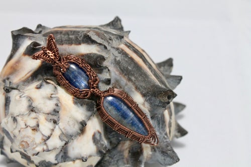 """Image of """"Lawrie"""" Double Wire Wrapped Blue Kyanite Amulet Pendant In Copper Wire"""