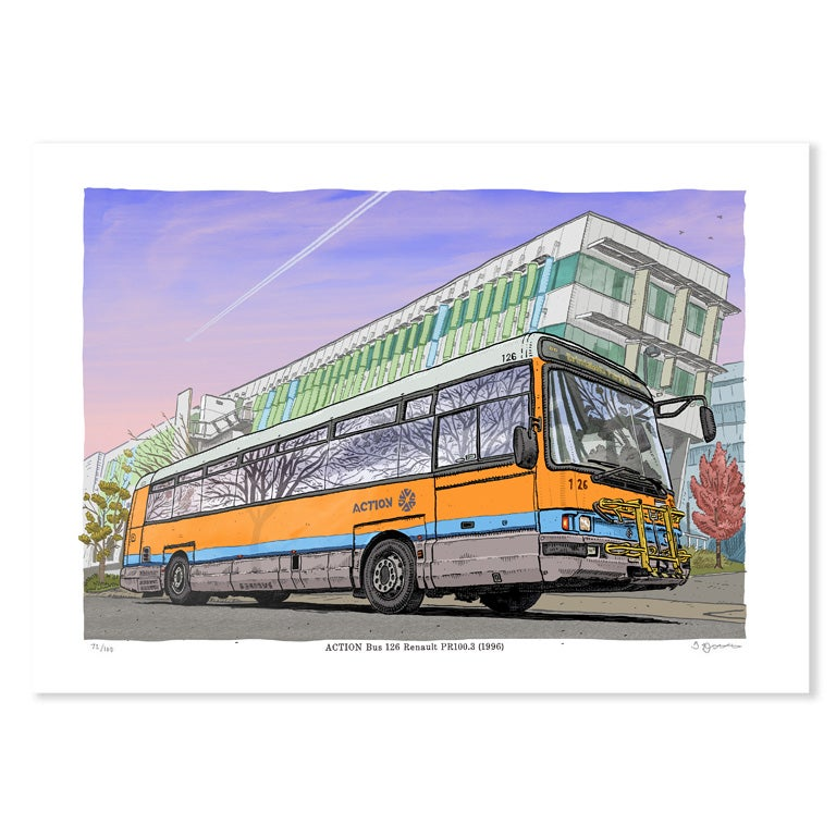 Image of Digital print of ACTION Bus 126 Renault PR100.3 (1996)