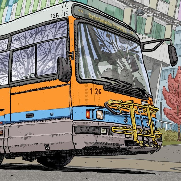 Image of Digital print of ACTION Bus 126 Renault PR100.3 (1996)