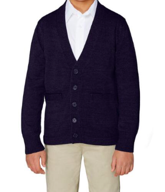 Image of French Toast Unisex V-Neck Cardigan Sweater - Navy