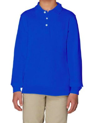 Image of French Toast Unisex Long Sleeve Pique Polo - Royal