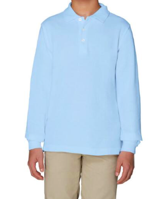 Image of French Toast Unisex Long Sleeve Pique Polo - Light Blue