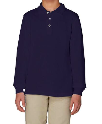 Image of French Toast Unisex Long Sleeve Pique Polo - Navy