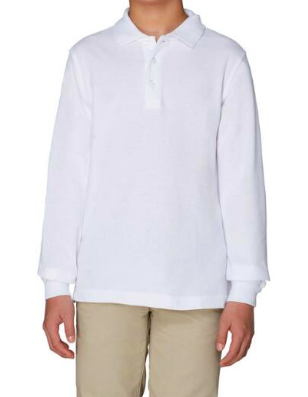 Image of Long Sleeve Pique Polo - White