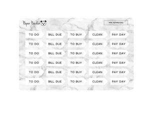 Image of Mini Simple Reminder Sheet - Credit Card Size