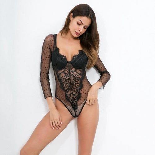 Image of  Estelle Black Lace Boadysuit