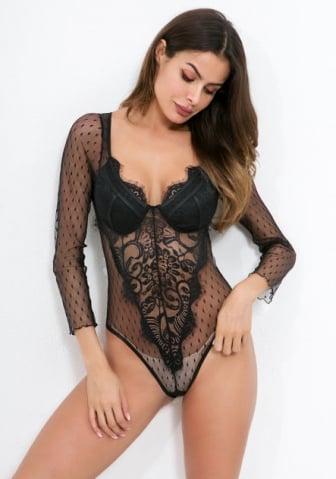 Image of  Estelle Black Lace Boadysuit