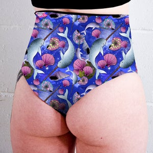 Image of Space Narwhals High Waisted Twerk Thong Shorts