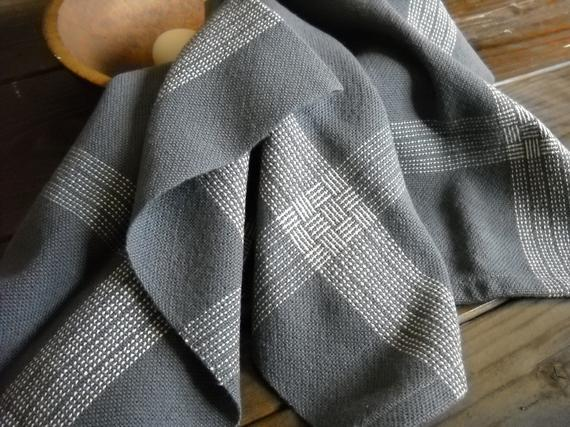 Image of Handwoven Charcoal Gray Kitchen Towel, Dark Gray with White Stripes Cotton Tea Towel,  Bread Cloth