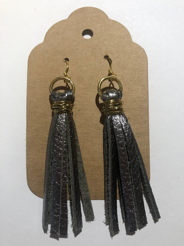 Image of Leather Earrings - Gunmetal Tassel
