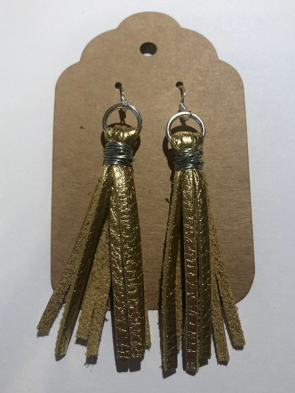 Image of Leather Earrings - Gold Tassel
