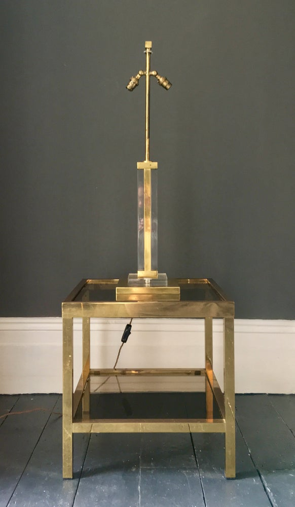 Image of Lucite & Brass Table Lamp