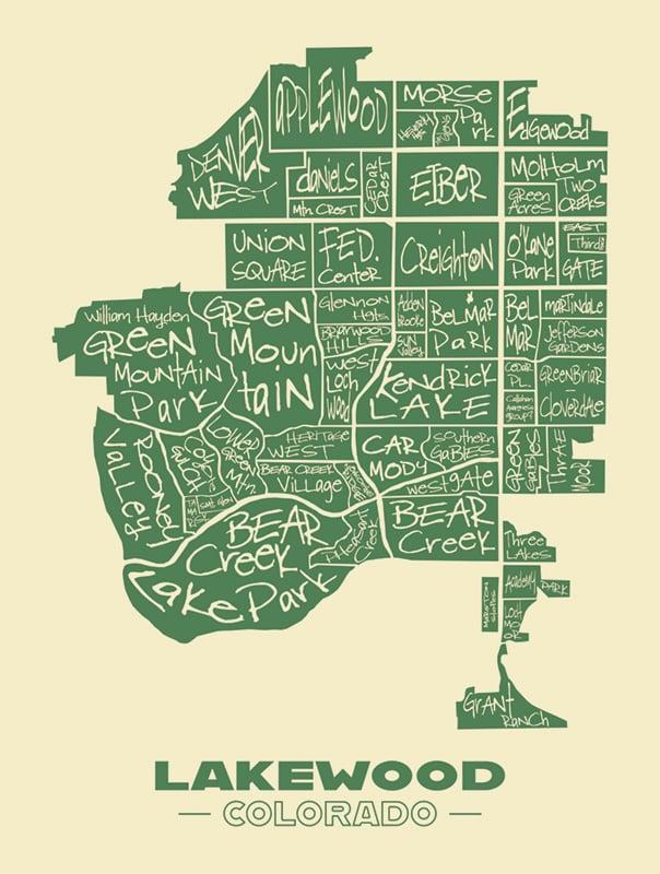 Image of Lakewood City Map Graphic Art Print - Green