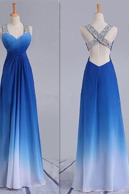 Charming Gradient Blue Cross Back Beaded Prom Dress, Chiffon Party Dress