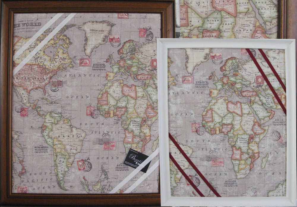 Image of  Framed, World Map Fabric, Pin/Memo/Message/ Notice Board