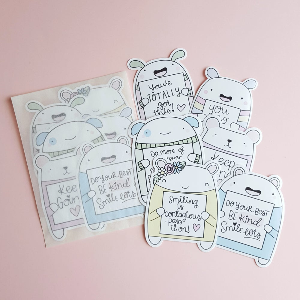 Image of Critter Stickers - die cut pastel pals to motivate & inspire!