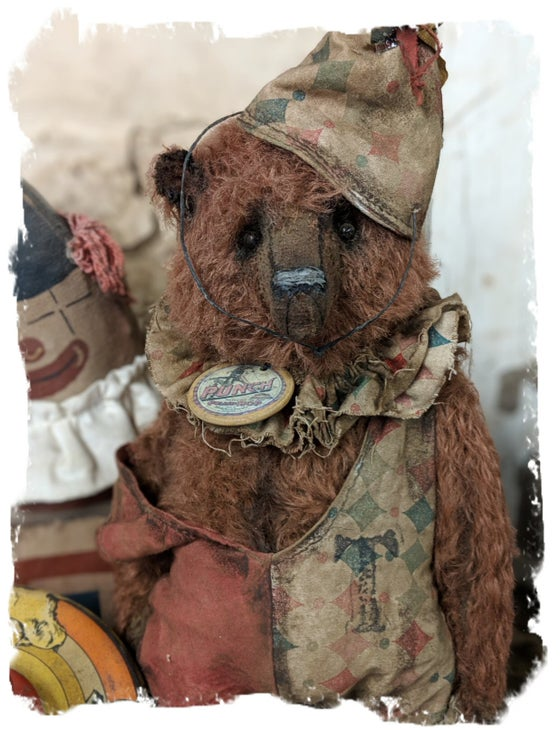 "Image of PUNCH....11"" antique style distressed mohair circus teddy bear by Whendi's Bears"