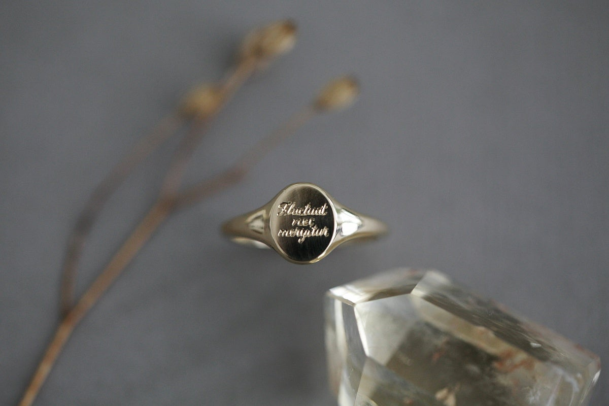 Image of 'Fluctuat nec mergitur' small signet ring (in silver or 9ct gold)
